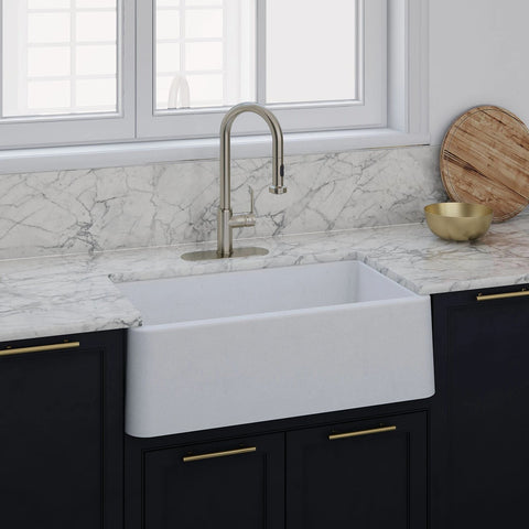 "LaToscana 30"" Farmhouse Sink, Composite Granite, White,  Marmorin Series, LA3019W"