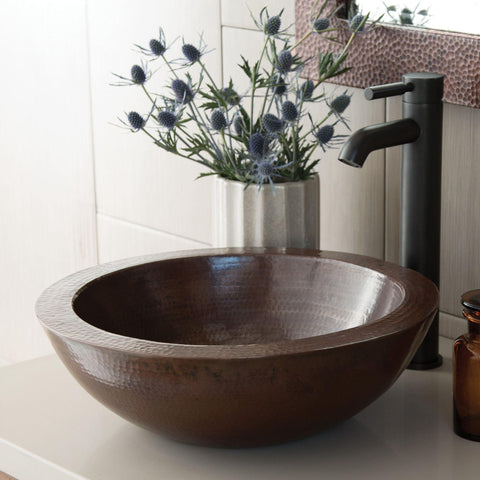 "Native Trails Laguna 16"" Round Copper Bathroom Sink, Antique Copper, CPS255"