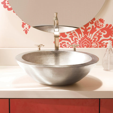 "Native Trails Laguna 16"" Round Nickel Bathroom Sink, Brushed Nickel, CPS555"