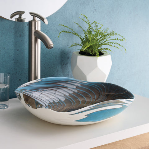 "Native Trails Murano 15"" Square Glass Bathroom Sink, Shoreline, MG1515-SE"