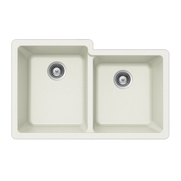 "Houzer 33"" Granite Undermount 60/40 Double Bowl Kitchen Sink, White, M-175U CLOUD"