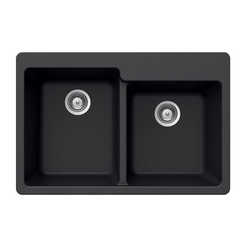 "Houzer 33"" Granite Topmount 60/40 Double Bowl Kitchen Sink, Black, M-175 MIDNITE"