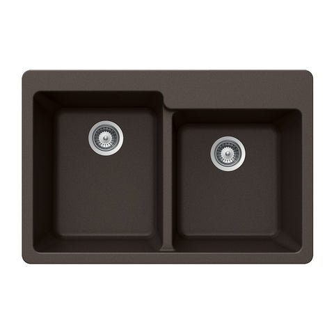 "Houzer 33"" Granite Topmount 60/40 Double Bowl Kitchen Sink, Brown, M-175 MOCHA"