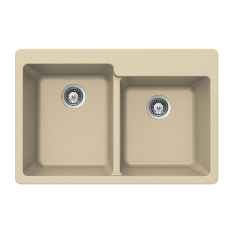 "Houzer 33"" Granite Topmount 60/40 Double Bowl Kitchen Sink, Biscuit, M-175 SAND"