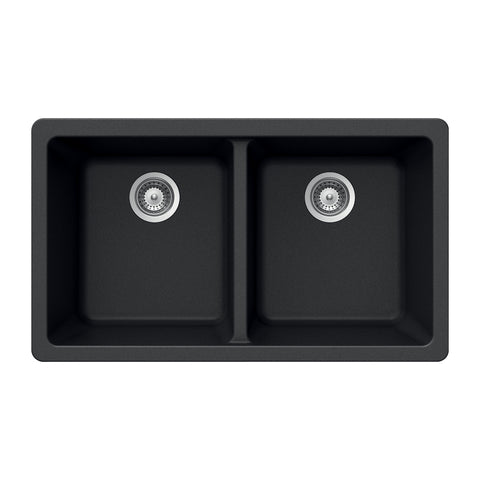 "Houzer 33"" Granite Undermount 50/50 Double Bowl Kitchen Sink, Black, M-200U MIDNITE"