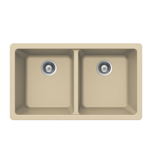 "Houzer 33"" Granite Undermount 50/50 Double Bowl Kitchen Sink, Biscuit, M-200U SAND"