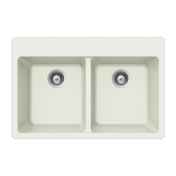 "Houzer 33"" Granite Topmount 50/50 Double Bowl Kitchen Sink, White, M-200 CLOUD"