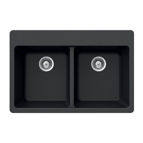 "Houzer 33"" Granite Topmount 50/50 Double Bowl Kitchen Sink, Black, M-200 MIDNITE"