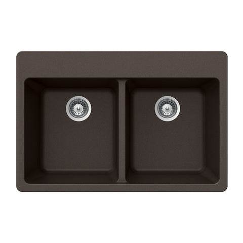 "Houzer 33"" Granite Topmount 50/50 Double Bowl Kitchen Sink, Brown, M-200 MOCHA"