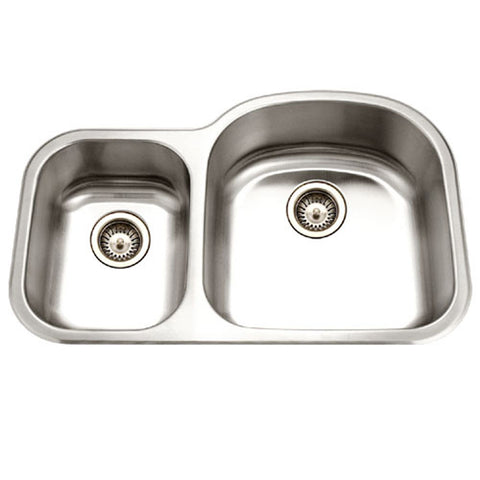 "Houzer 33"" Stainless Steel Undermount 70/30 Double Bowl Kitchen Sink, MC-3210SL-1"