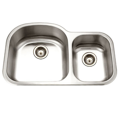"Houzer 33"" Stainless Steel Undermount 70/30 Double Bowl Kitchen Sink, MC-3210SR-1"