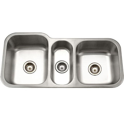 "Houzer 40"" Stainless Steel Undermount Triple Bowl Kitchen Sink, MGT-4120-1"