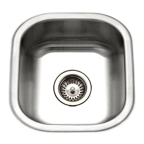 "Houzer 16"" Stainless Steel Undermount Club Prep/Large Bar Sink Bar Sink, MS-1708-1"
