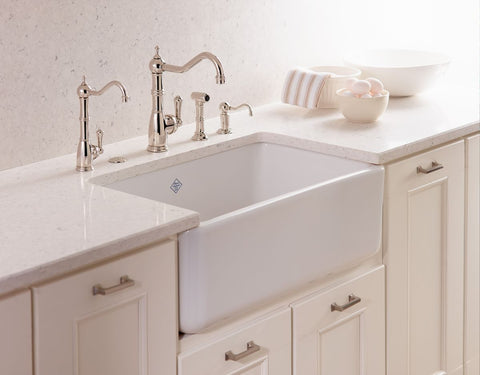 "Rohl Shaws 24"" Fireclay Single Bowl Farmhouse Apron Kitchen Sink, White, RC2418WH - The Sink Boutique"