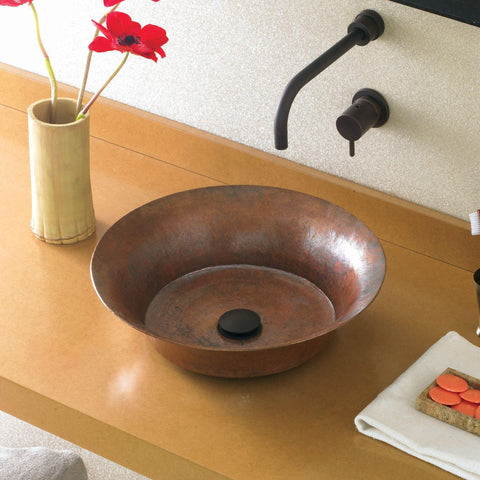 "Native Trails Maestro 16"" Round Copper Bathroom Sink, Tempered Copper, CPS371"