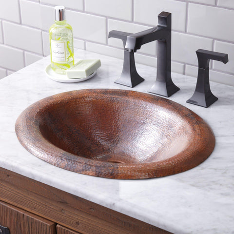 "Native Trails Maestro 18"" Rectangle Copper Bathroom Sink, Tempered Copper, CPS386"