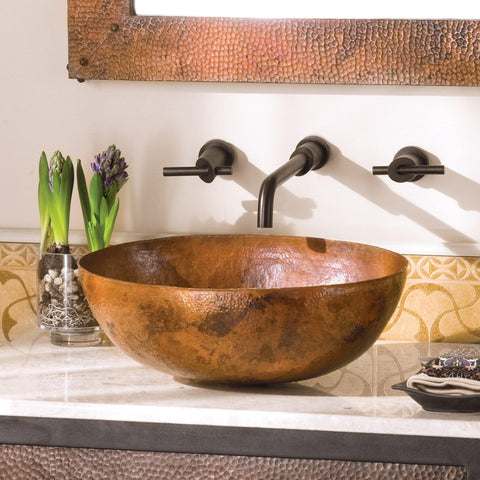 "Native Trails Maestro 17"" Rectangle Copper Bathroom Sink, Tempered Copper, CPS369"