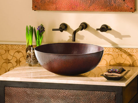 "Native Trails Maestro 17"" Rectangle Copper Bathroom Sink, Antique Copper, CPS269"