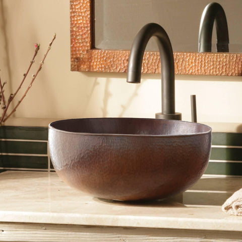 "Native Trails Maestro 13"" Round Copper Bathroom Sink, Antique Copper, CPS266"