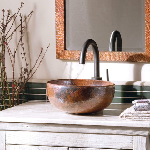 "Native Trails Maestro 13"" Round Copper Bathroom Sink, Tempered Copper, CPS366"