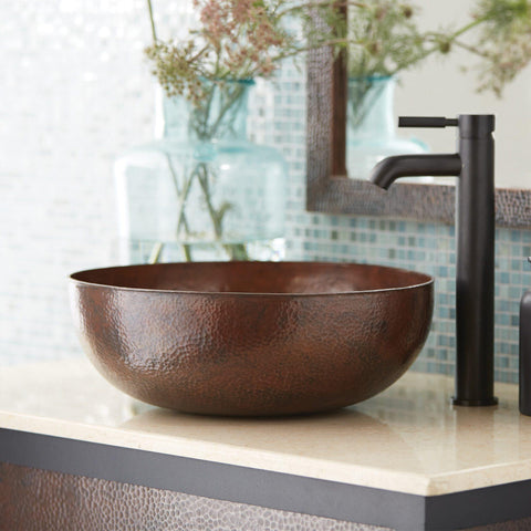 "Native Trails Maestro 16"" Round Copper Bathroom Sink, Antique Copper, CPS263"