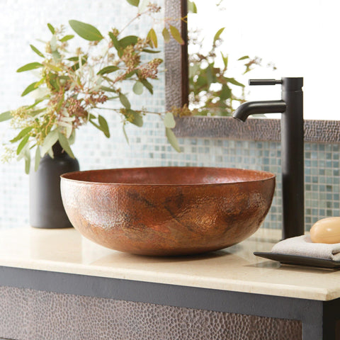 "Native Trails Maestro 16"" Round Copper Bathroom Sink, Tempered Copper, CPS363"