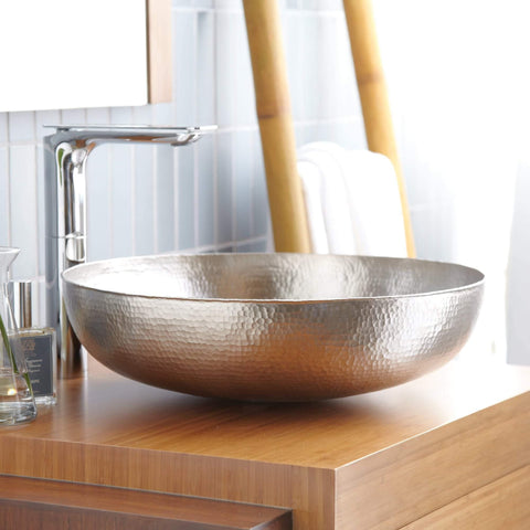 "Native Trails Maestro 17"" Round Nickel Bathroom Sink, Brushed Nickel, CPS584"