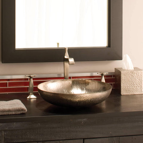"Native Trails Maestro 15"" Round Nickel Bathroom Sink, Brushed Nickel, CPS583"