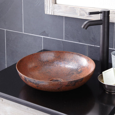 "Native Trails Maestro 15"" Round Copper Bathroom Sink, Tempered Copper, CPS383"