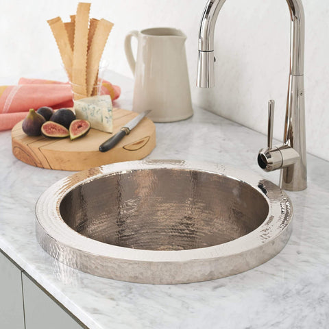 "Native Trails Mojito 16"" Nickel Bar/Prep Sink, Polished Nickel, CPS816"
