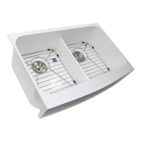 "Nantucket Sinks Glacierstone 31"" Retrofit Double Bowl Farmhouse Sink, White, NS-GSEZA32D"