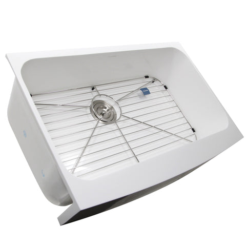 "Nantucket Sinks Glacierstone 31"" Retrofit Farmhouse Sink, White, NS-GSEZA32S"