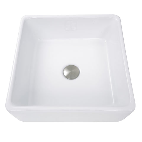 "Nantucket Sinks Brant Point 15"" Ceramic Bathroom Sink, White, NSV107A"