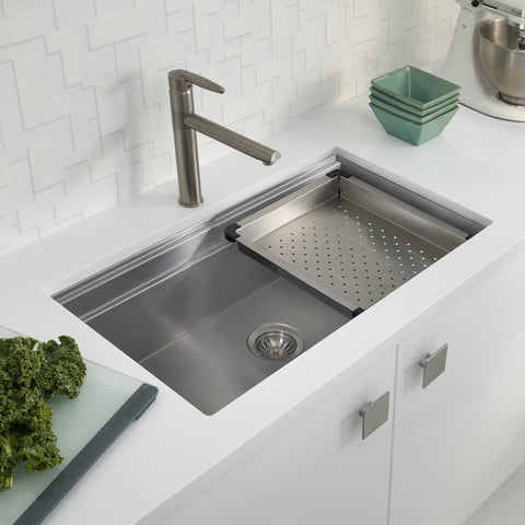 "Houzer 32"" Stainless Steel Undermount Large Single Bowl Kitchen Sink, NVS-5200 - The Sink Boutique"