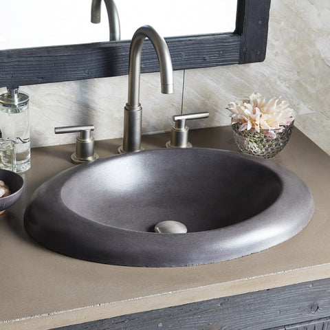 "Native Trails 30"" Native Stone Vanity Top in Earth- Oval with 8"" Widespread Cutout, NSV30-EO"