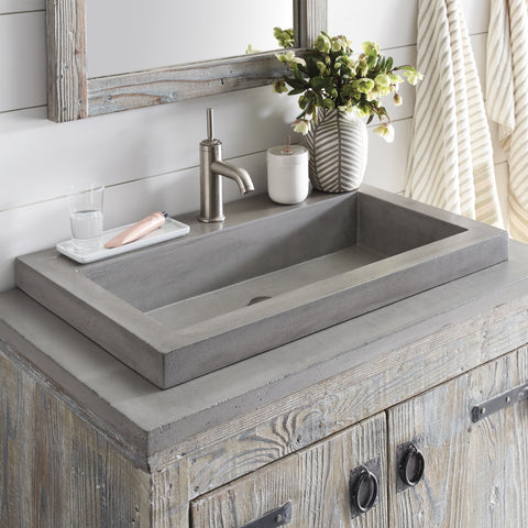 "Native Trails 36"" Native Stone Vanity Top in Ash- Trough with Single or No Faucet Hole, NSV36-AT"