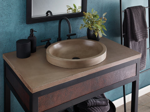 "Native Trails 36"" Native Stone Vanity Top in Earth- Oval with 8"" Widespread Cutout, NSV36-EO"