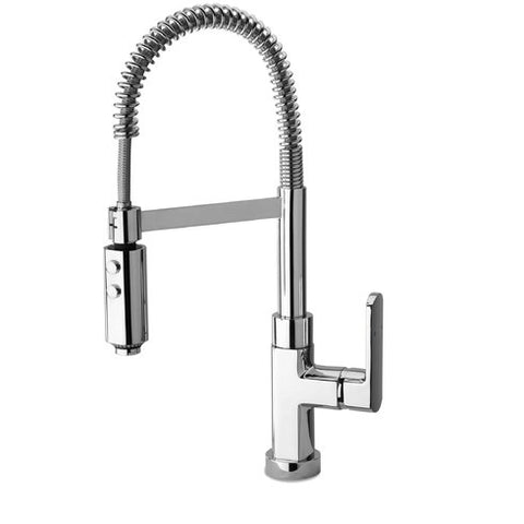 Latoscana Novello Single Handle Kitchen Faucet with Spring Spout, Brushed Nickel, 86PW557 - The Sink Boutique