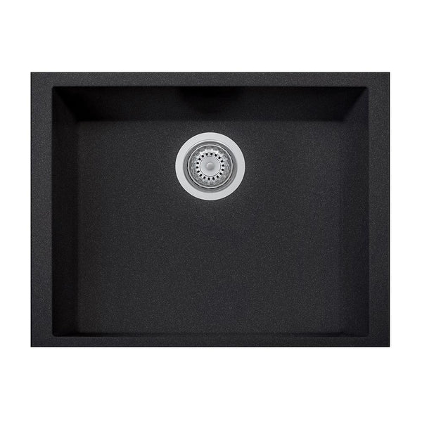 "Latoscana Plados 23"" Undermount Single Bowl Kitchen Sink, Black, ON6010ST-44"