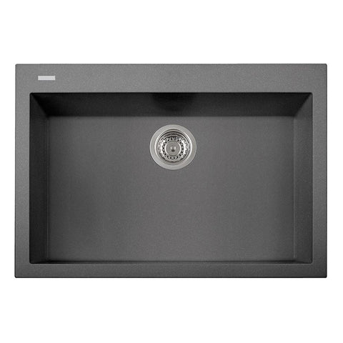 "Latoscana Plados 30"" Drop-in Single Bowl Kitchen Sink, Silver, ON7610-42"