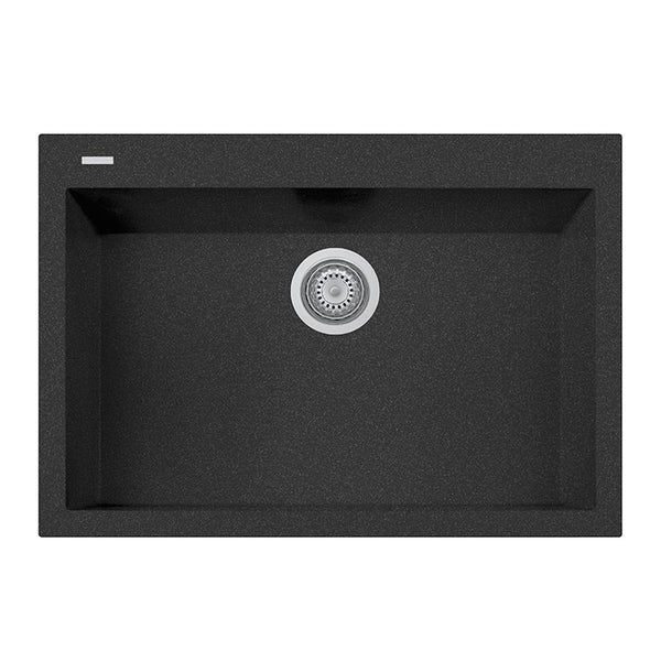 "Latoscana Plados 30"" Drop-in Single Bowl Kitchen Sink, Black, ON7610-44"