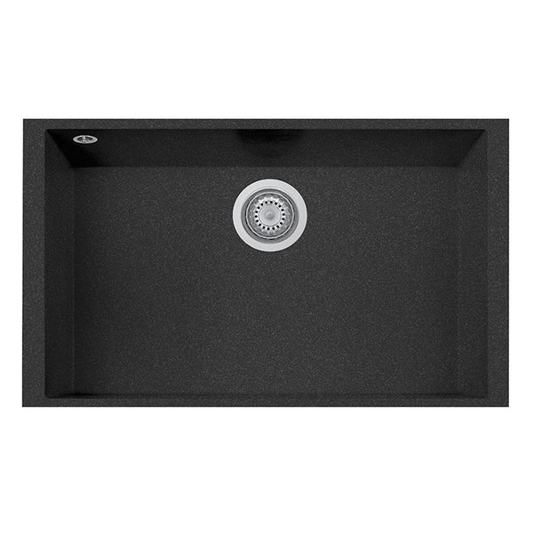 "Latoscana Plados 30"" Undermount Single Bowl Kitchen Sink, Black, ON7610ST-44"