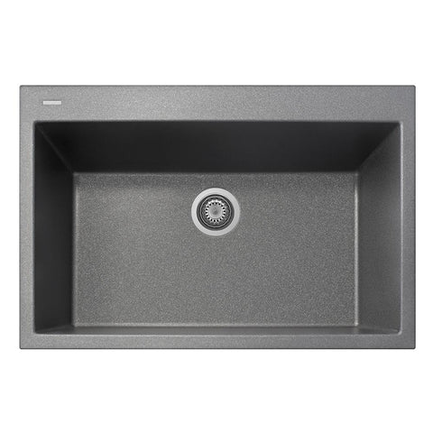 "Latoscana Plados 33"" Drop-in Single Bowl Kitchen Sink, Silver, ON8410-42"