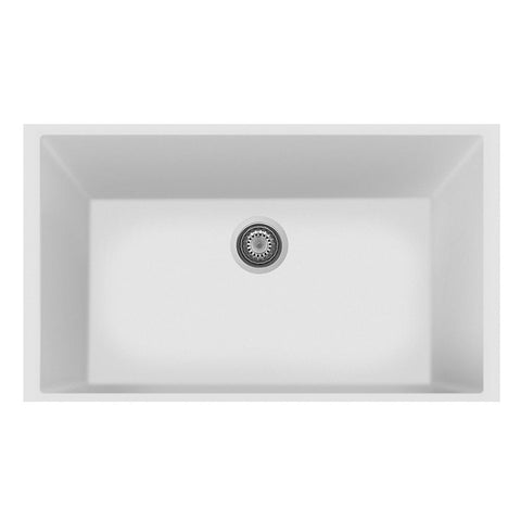 "Latoscana Plados 33"" Undermount Single Bowl Kitchen Sink, White, ON8410ST-58"