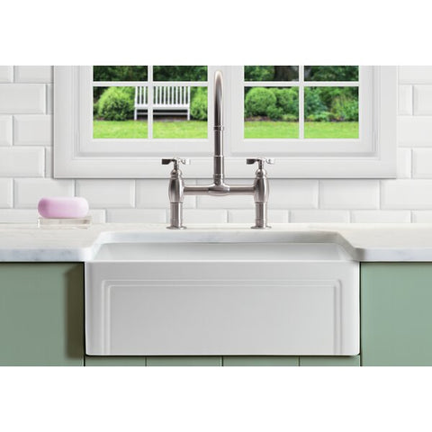 "Empire Industries Olde London 27"" Fireclay Farmhouse Sink, White, OL27G"