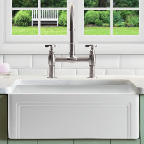 "Empire Industries Olde London 30"" Fireclay Farmhouse Sink, White, OL30G"