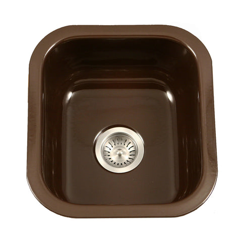 "Houzer 16"" Porcelain Enamel Steel Undermount Bar/Prep Sink, Brown, PCB-1750 ES"