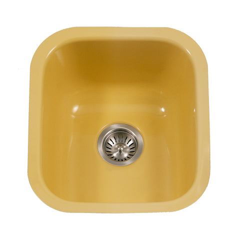 "Houzer 16"" Porcelain Enamel Steel Undermount Bar/Prep Sink, Yellow, PCB-1750 LE"