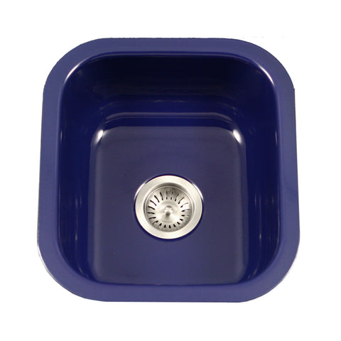 "Houzer 16"" Porcelain Enamel Steel Undermount Bar/Prep Sink, Blue, PCB-1750 NB"