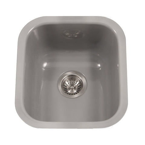 "Houzer 16"" Porcelain Enamel Steel Undermount Bar/Prep Sink, Gray, PCB-1750 SL"